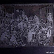 Antigüedades: ZINCOGRABADO, CLICHE PARA IMPRESION. ILUSTRACION DE ESTAMPA DE BAR. Lote 165581318