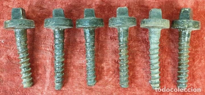 Antigüedades: FERROCARRIL. COLECCIÓN DE 15 TORNILLOS DE TRAVIESAS PARA VIAS FÉRREAS. SIGLO XX. - Foto 8 - 165952558