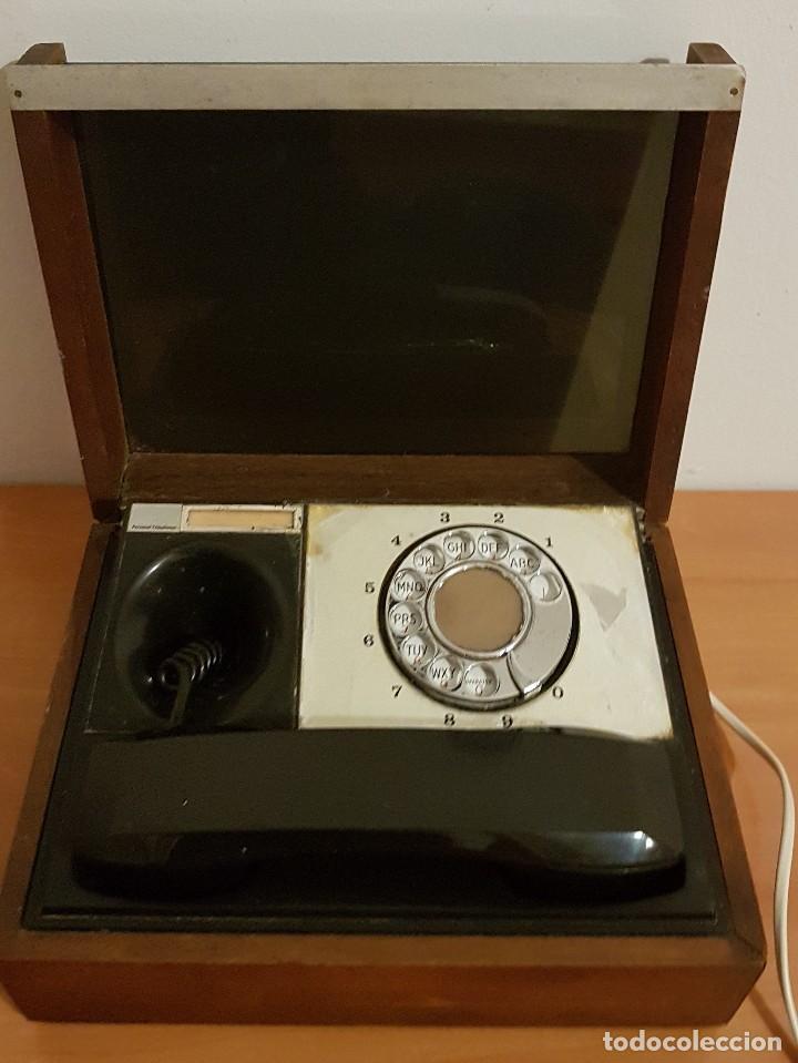 ANTIGUO TELEFONO PERSONAL DECOTEL EN CAJA DE MADERA (Antigüedades - Técnicas - Teléfonos Antiguos)
