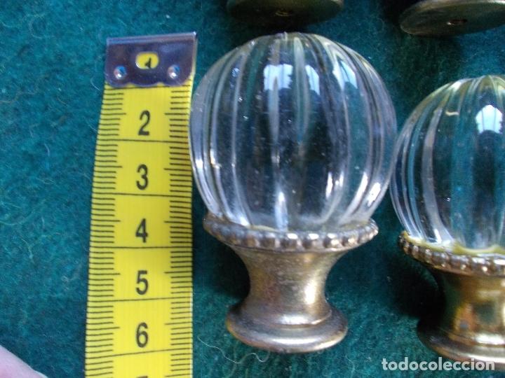 Antigüedades: Tiradores de cristal antiguos lote de 6 - Foto 2 - 166750926