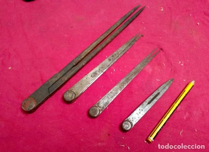 LOTE DE COMPAS- CALIBRES MEDIDORES ANTIGUOS (Antigüedades - Técnicas - Herramientas Antiguas - Otras profesiones)