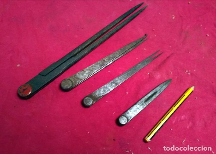 Antigüedades: Lote de Compas- Calibres medidores antiguos - Foto 2 - 166815702