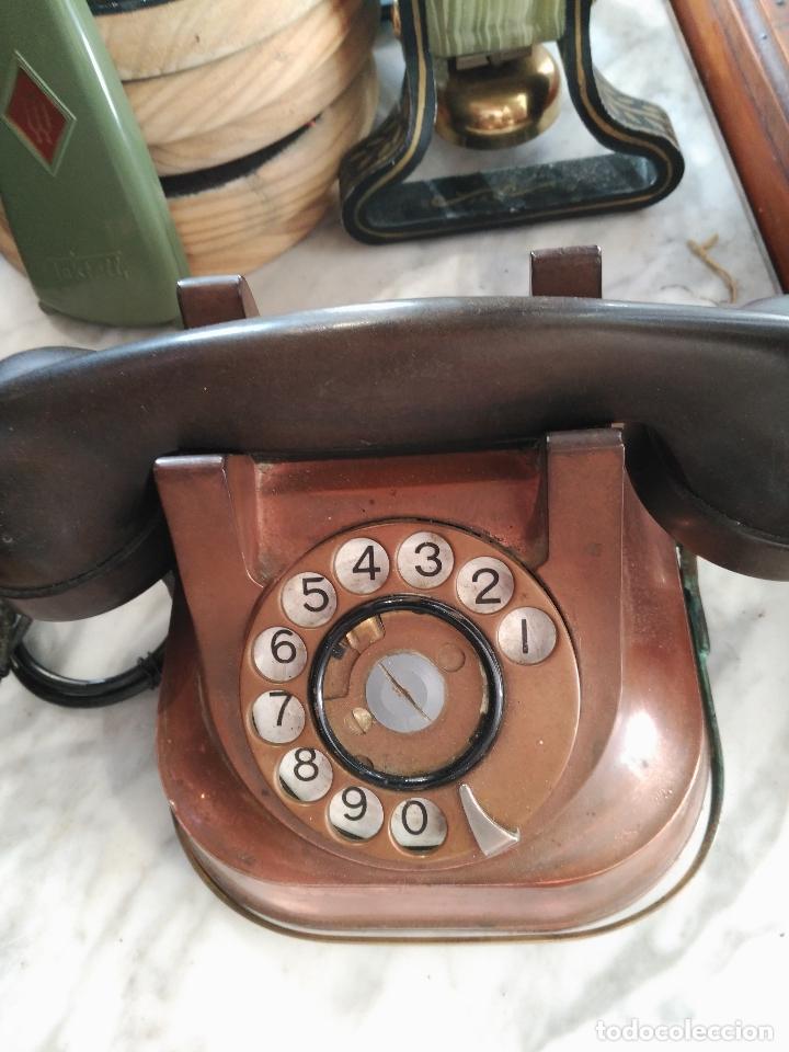Teléfonos: PRECIOSO Y ANTIGUO TELÉFONO BELGA RTT56 EN METAL ASA EN LATÓN AURICULARES BAQUELITA FUNCIONANDO - Foto 3 - 167032792