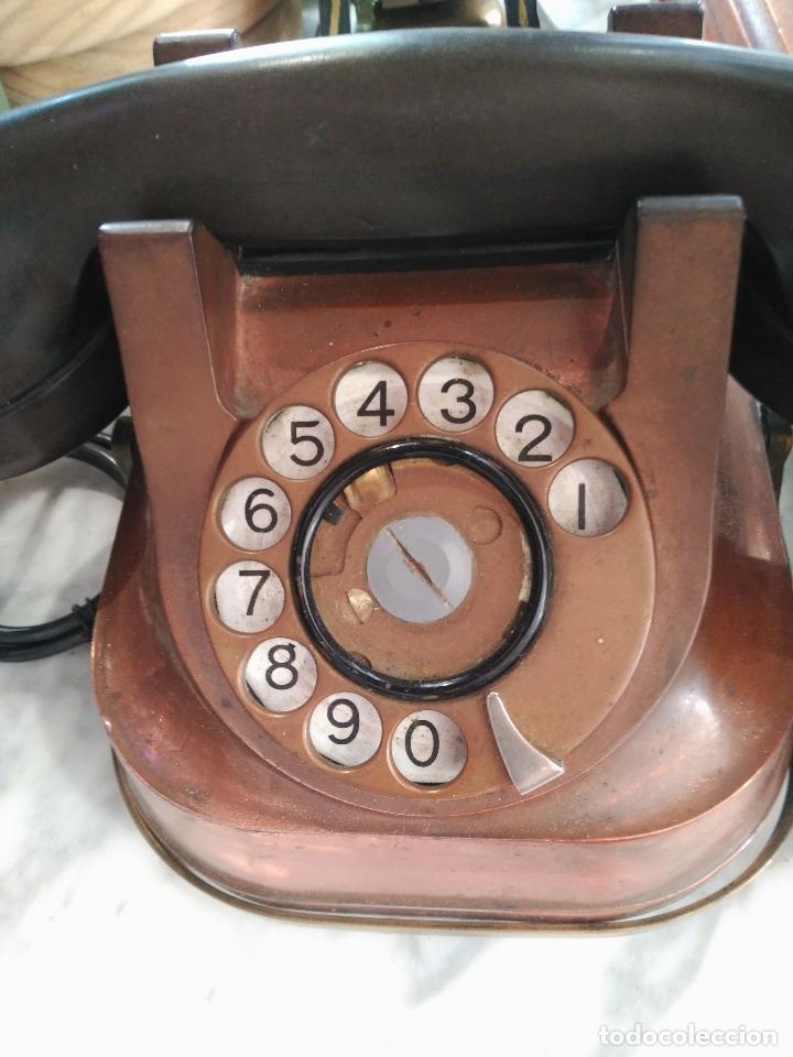 Teléfonos: PRECIOSO Y ANTIGUO TELÉFONO BELGA RTT56 EN METAL ASA EN LATÓN AURICULARES BAQUELITA FUNCIONANDO - Foto 4 - 167032792