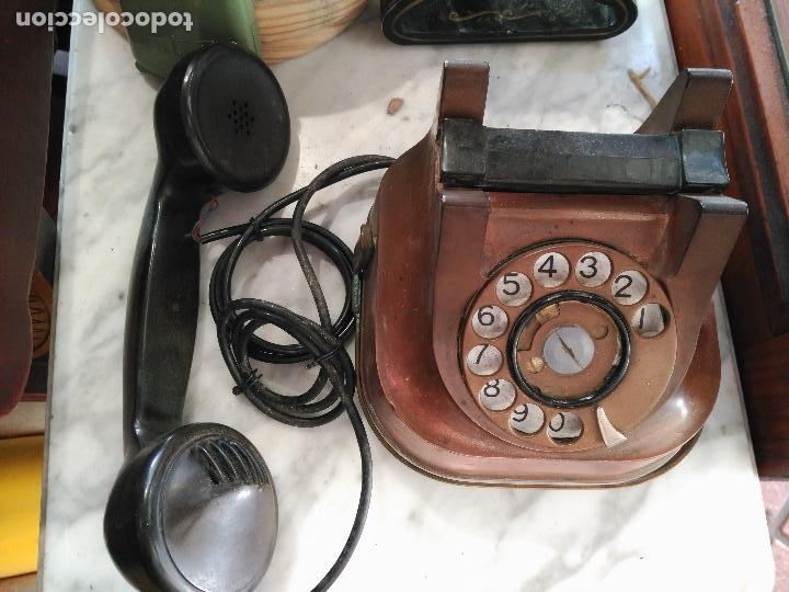 Teléfonos: PRECIOSO Y ANTIGUO TELÉFONO BELGA RTT56 EN METAL ASA EN LATÓN AURICULARES BAQUELITA FUNCIONANDO - Foto 5 - 167032792