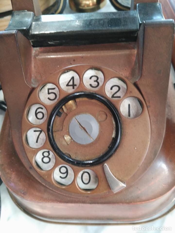 Teléfonos: PRECIOSO Y ANTIGUO TELÉFONO BELGA RTT56 EN METAL ASA EN LATÓN AURICULARES BAQUELITA FUNCIONANDO - Foto 2 - 167032792
