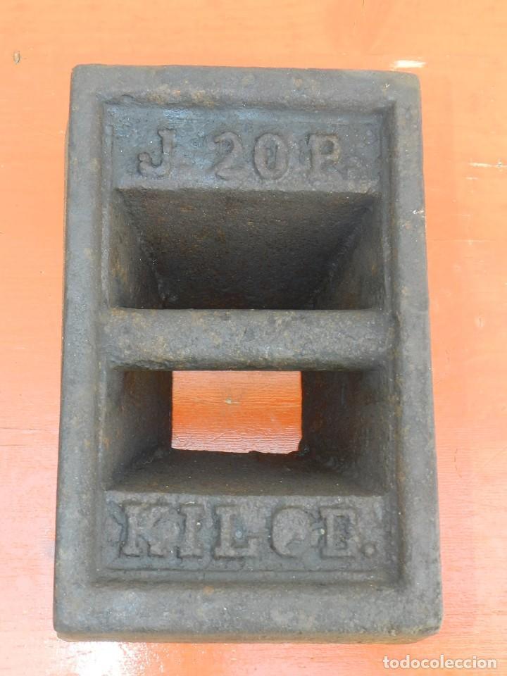 PESA DE HIERRO 20 KILOS (Antigüedades - Técnicas - Medidas de Peso Antiguas - Otras)