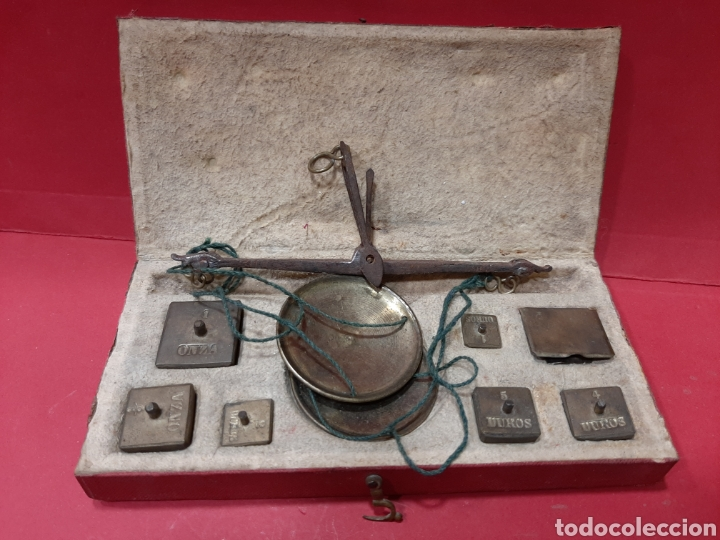 Antigüedades: BALANZA ANTIGUA COMPLETA DE PESAS. - Foto 2 - 167164177