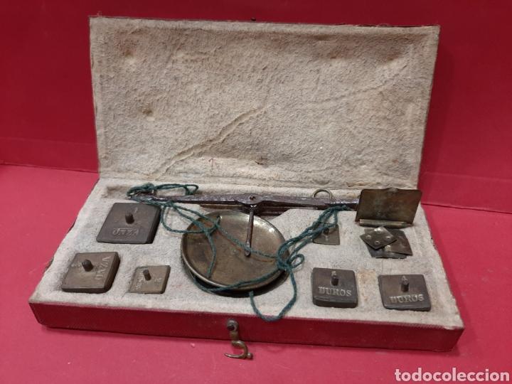 BALANZA ANTIGUA COMPLETA DE PESAS. (Antigüedades - Técnicas - Medidas de Peso - Balanzas Antiguas)