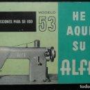 Antigüedades: ALFA -MANUAL INSTRUCCIONES PARA USO-ALFA- MODELO 53. Lote 168057740