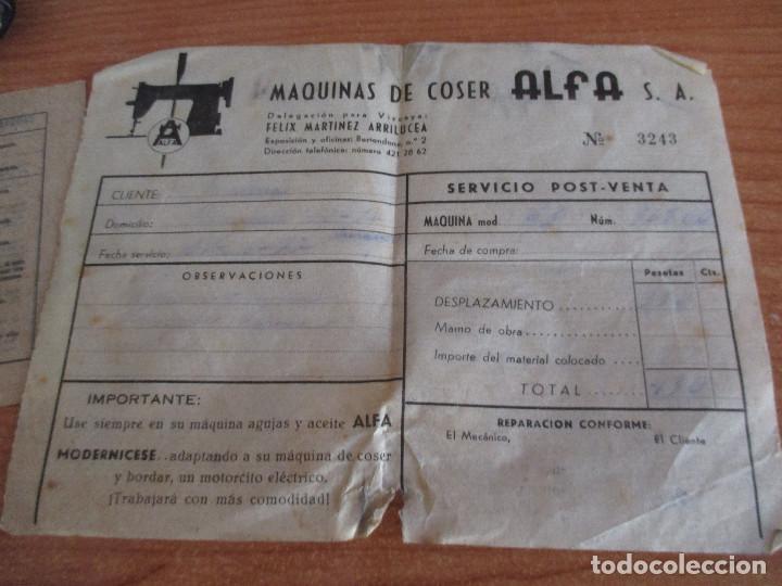 Antigüedades: ANTIGUA MAQUINA DE COSER ALGA MODELO 63 - Foto 5 - 168486084
