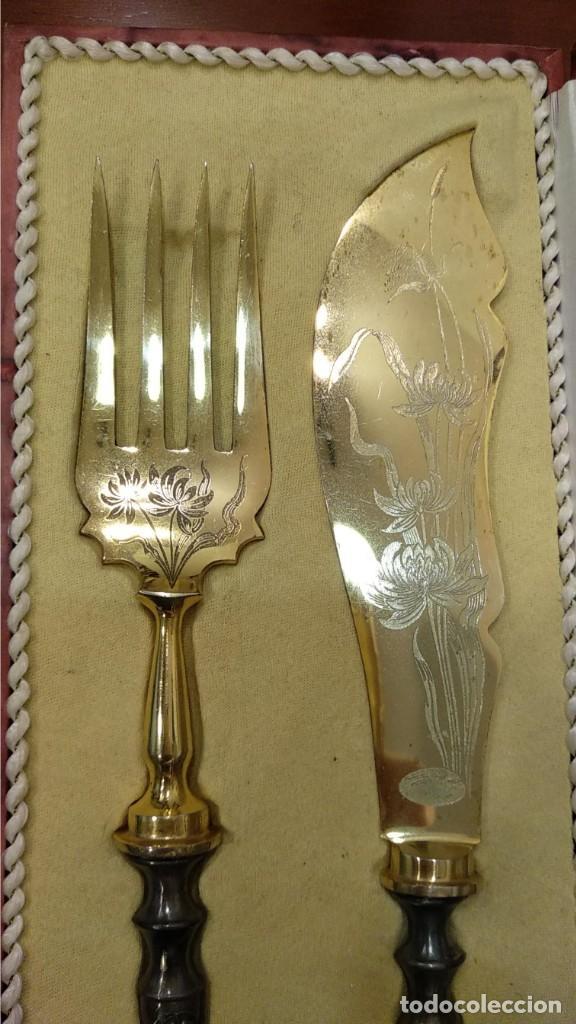 Antigüedades: Juego de tenedor y cuchillo Trincheros en Plata Vermeil - Foto 2 - 168493616