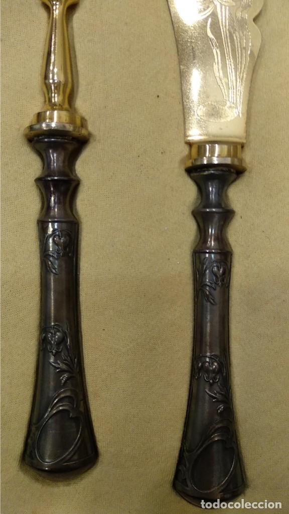 Antigüedades: Juego de tenedor y cuchillo Trincheros en Plata Vermeil - Foto 5 - 168493616