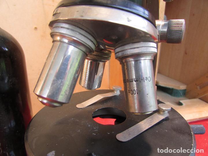Antigüedades: Microscopio alemán C: ERBE del año 1938. Caja original con llave. Completo - Foto 7 - 168665672