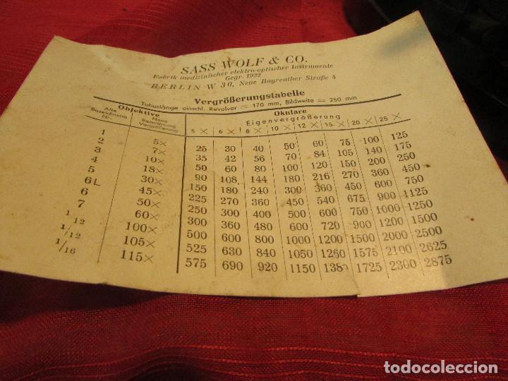 Antigüedades: Microscopio alemán C: ERBE del año 1938. Caja original con llave. Completo - Foto 11 - 168665672