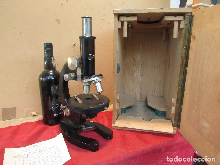 Antigüedades: Microscopio alemán C: ERBE del año 1938. Caja original con llave. Completo - Foto 12 - 168665672