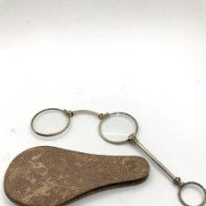 Antigüedades: BINOCULARES, ANTEOJOS DE BOLSILLO PLEGABLES EN PLATA .925 SIGLO XIX. Lote 168980284