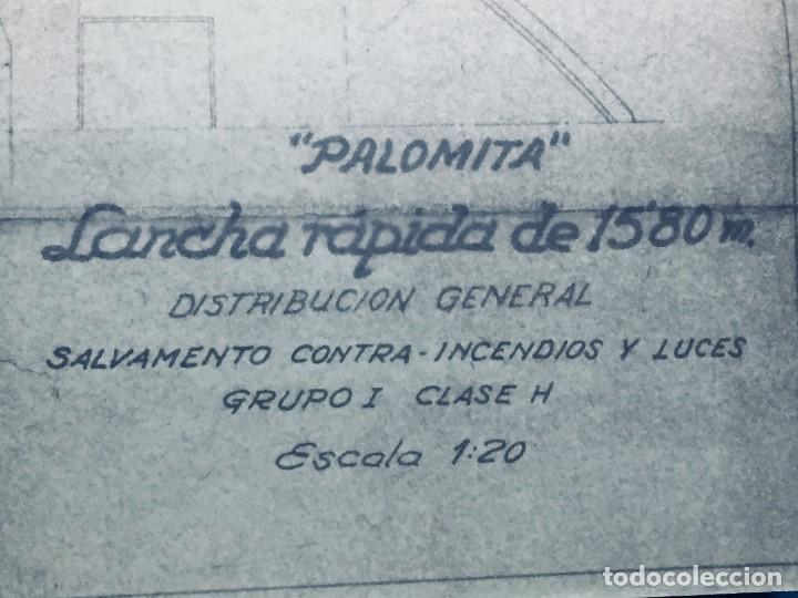 PLANO PALOMITA LANCHA RAPIDA DE 15,80M ESCALA 1:20 SALVAMENTO CONTRA INCENDIOS Y LUCES 30,5X21CMS (Antigüedades - Antigüedades Técnicas - Marinas y Navales)