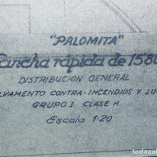 Antigüedades: PLANO PALOMITA LANCHA RAPIDA DE 15,80M ESCALA 1:20 SALVAMENTO CONTRA INCENDIOS Y LUCES 30,5X21CMS. Lote 169072468