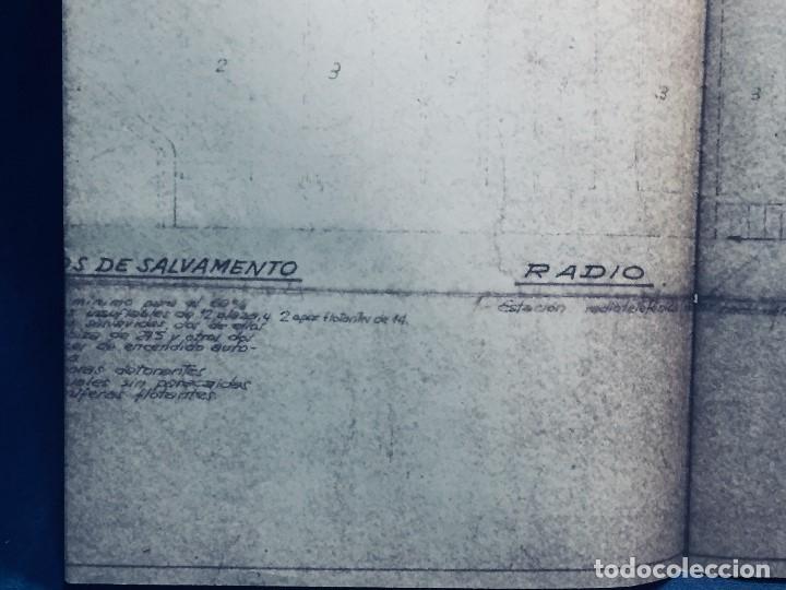 Antigüedades: PLANO PALOMITA LANCHA RAPIDA DE 15,80M ESCALA 1:20 SALVAMENTO CONTRA INCENDIOS Y LUCES 30,5X21CMS - Foto 6 - 169072468