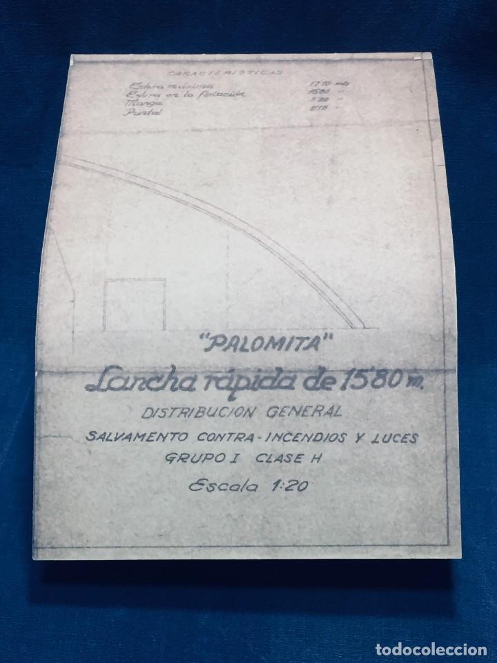 Antigüedades: PLANO PALOMITA LANCHA RAPIDA DE 15,80M ESCALA 1:20 SALVAMENTO CONTRA INCENDIOS Y LUCES 30,5X21CMS - Foto 2 - 169072468