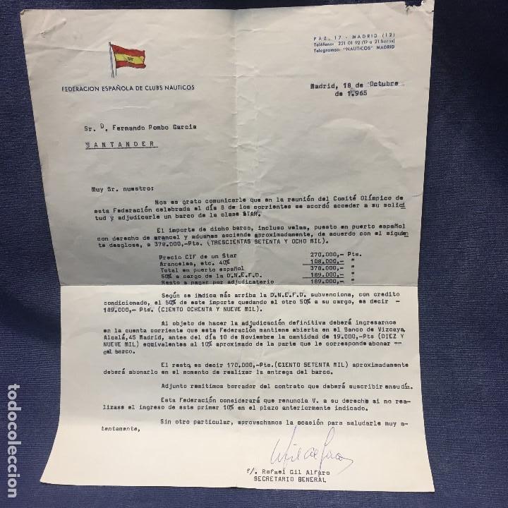FEDERACION ESPAÑOLA CLUBS NAUTICOS ADJUDICACION REGATA BARCO CLASE STAR 1965 SANTANDER (Antigüedades - Antigüedades Técnicas - Marinas y Navales)