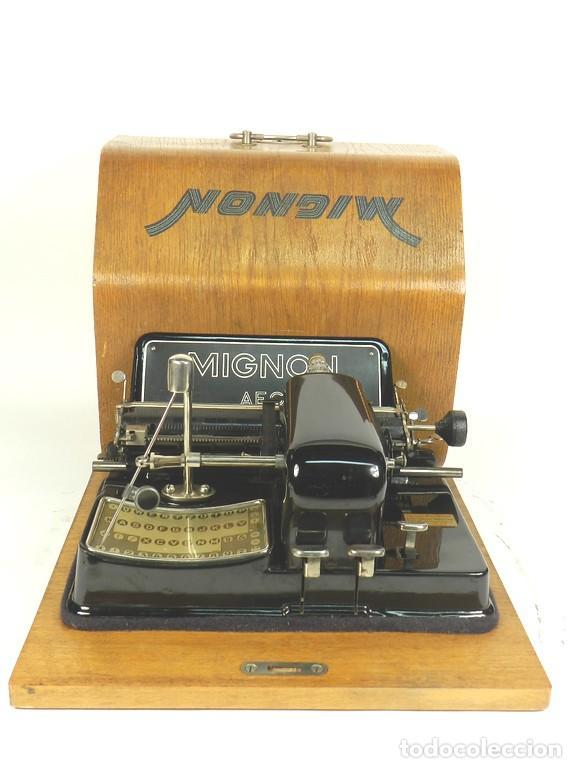 Antigüedades: IMPECABLE MIGNON Nº4 AÑO 1924 Maquina de escribir Typewriter Schreibmaschine - Foto 2 - 169236128