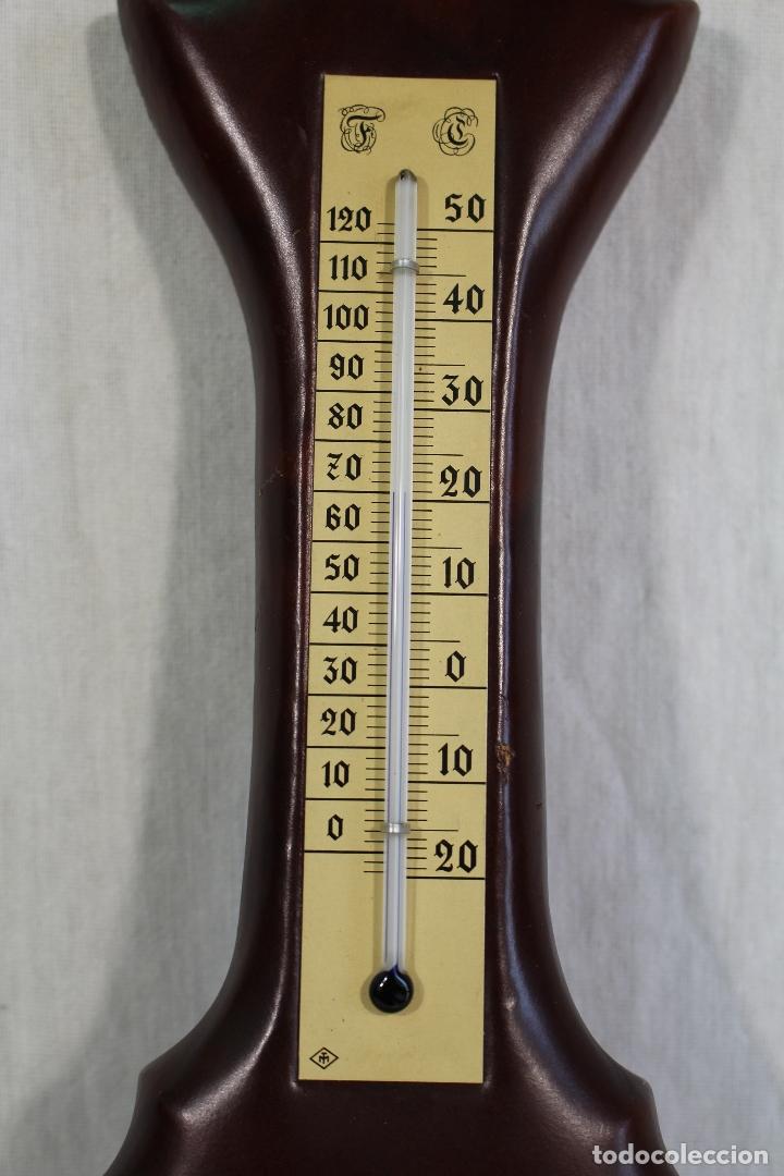 Antigüedades: barometro termometro en semipiel - Foto 4 - 169264256