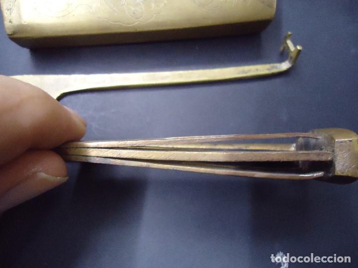Antigüedades: cerradura llave orientalista arabe siglo XIX, XX candado de arcon o mueble con grabados. mide 11 x 4 - Foto 10 - 169576400
