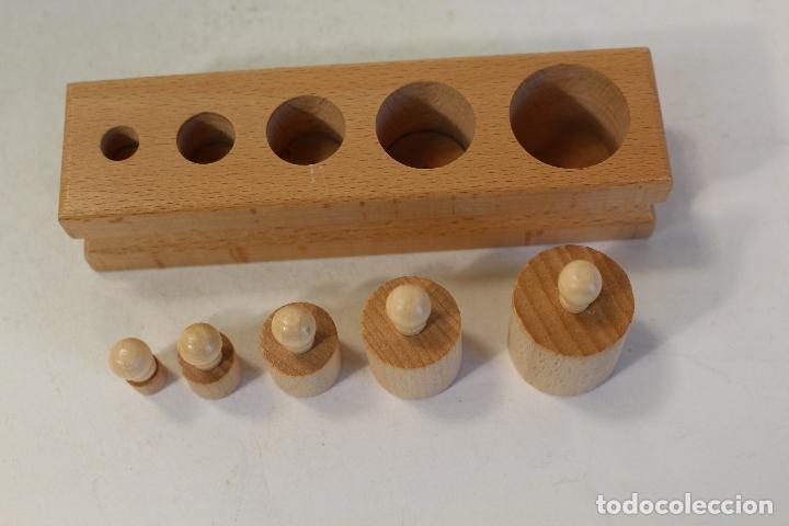 Antigüedades: juego de ponderales pesas de madera - Foto 3 - 169626080