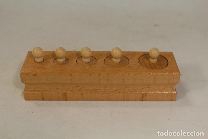 Antigüedades: juego de ponderales pesas de madera - Foto 4 - 169626080