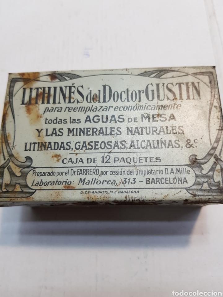 CAJA DE HOJALATA DE FARMACIA LITHINES (Antigüedades - Técnicas - Herramientas Profesionales - Medicina)