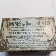 Antigüedades: CAJA DE HOJALATA DE FARMACIA LITHINES. Lote 170025505
