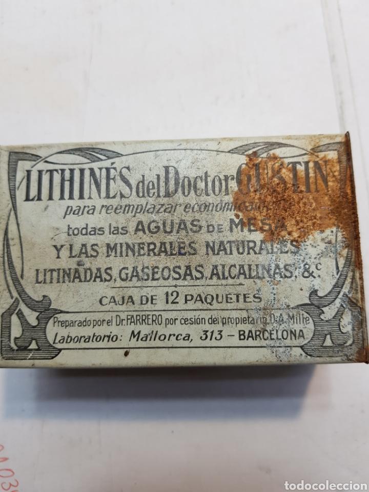 Antigüedades: Caja de hojalata de Farmacia Lithines - Foto 3 - 170025505