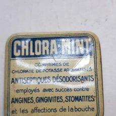 Antigüedades: CAJITA HOJALATA DE FARMACIA CHLORA-MINT. Lote 170026102