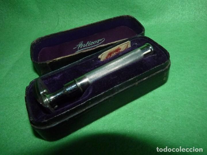 Antigüedades: Antigua Maquinilla de Afeitar en Estuche Original ANTICOR - Foto 9 - 170125604