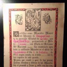Antigüedades: CERTIFICADO MAESTRO MAYOR PELUQUERIA DE CABALLERO LERIDA 1959, DECORACION BARBERIA. Lote 170372480