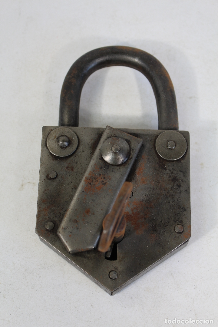 Antigüedades: candado con llave - Foto 2 - 170579010
