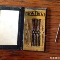 Antigüedades: ANTIGUA CALCULADORA MANUAL MARCA EXACTA COMPLETA.. Lote 171250527