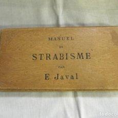 Antigüedades: CARPETA - MANUAL DE ESTRABISMO DEL DR. E.JAVAL - CON CARTULINAS DE PRUEBAS. Lote 171352735