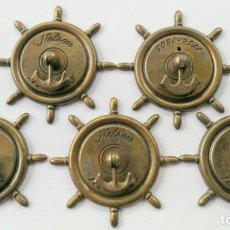Antigüedades: CINCO TIRADORES METAL . Lote 171553573