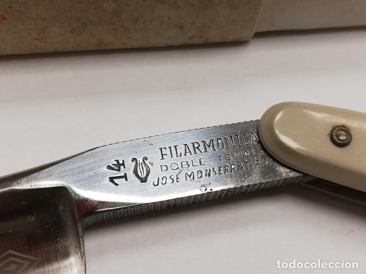 Antigüedades: LOTE DE DOS NAVAJAS AFEITAR FILARMONICA DOBLE TEMPLE DE JOSÉ MONSERRAT POU DEL Nº 14 MAS UN AFILADOR - Foto 7 - 171735189