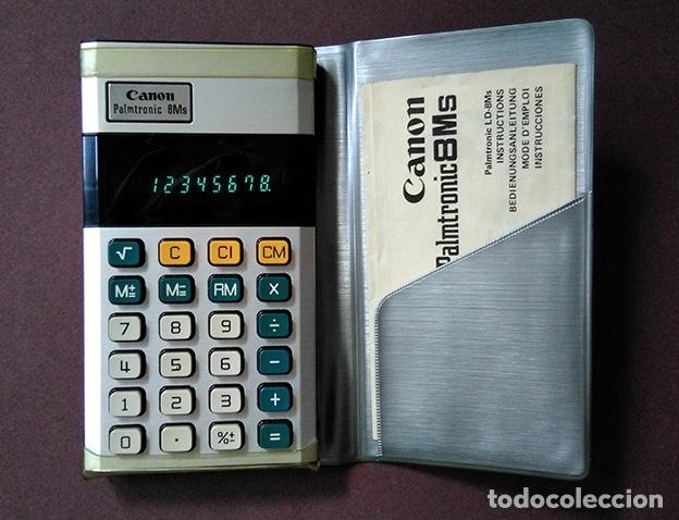 CANON PALMTRONIC 8 MS - ESTUCHE Y MANUAL INSTRUCCIONES (1974). FUNCIONANDO (Antigüedades - Técnicas - Aparatos de Cálculo - Calculadoras Antiguas)