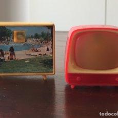 Antigüedades: DOS TELEVISORES EN MINIATURA PARA VER DIAPOSITIVAS RECUERDO LLEIDA Y VIRGEN DE SALES. Lote 172297118
