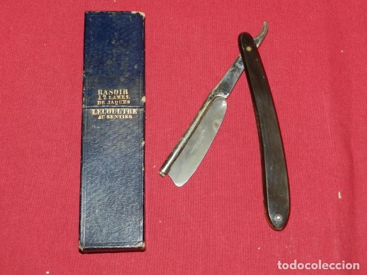 NAVAJAS DE AFEITAR - JAQUES LECOULTRE CON FUNDA, SEÑALES DE USO (Antigüedades - Técnicas - Barbería - Navajas Antiguas)
