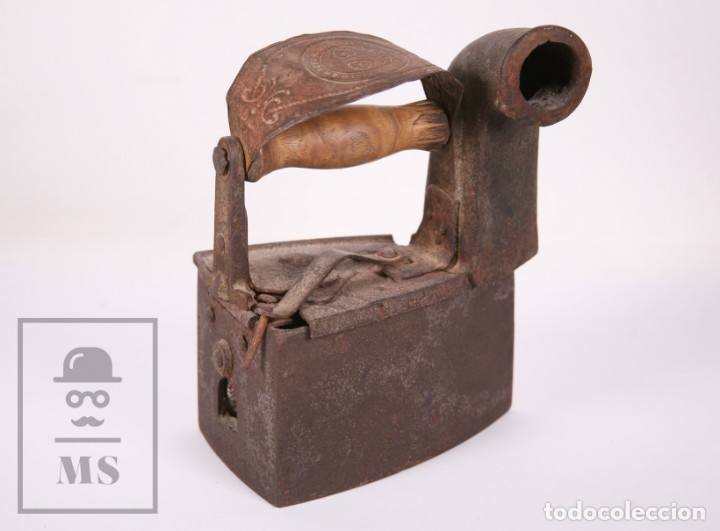 Antigüedades: Antigua Plancha de Carbón con Chimenea - Castilla Made for Warden & Hotchkiss, Inglaterra - Foto 4 - 172607913