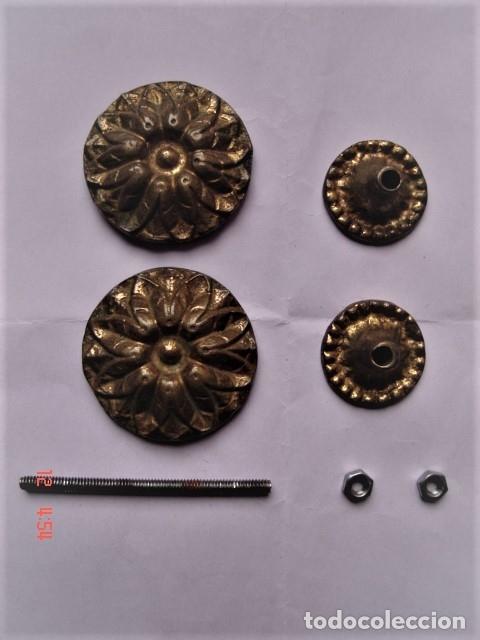 Antigüedades: TIRADOR DOBLE DE BRONCE PARA CAJÓN O SIMILAR - Foto 4 - 172714918