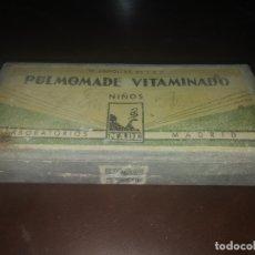 Antigüedades: CAJA ANTIGUA VACIA DE AMPOLLAS LABORATORIOS MADE MADRID PULMOMADE MEDICAMENTO MEDICINA BERNAL. Lote 172909577