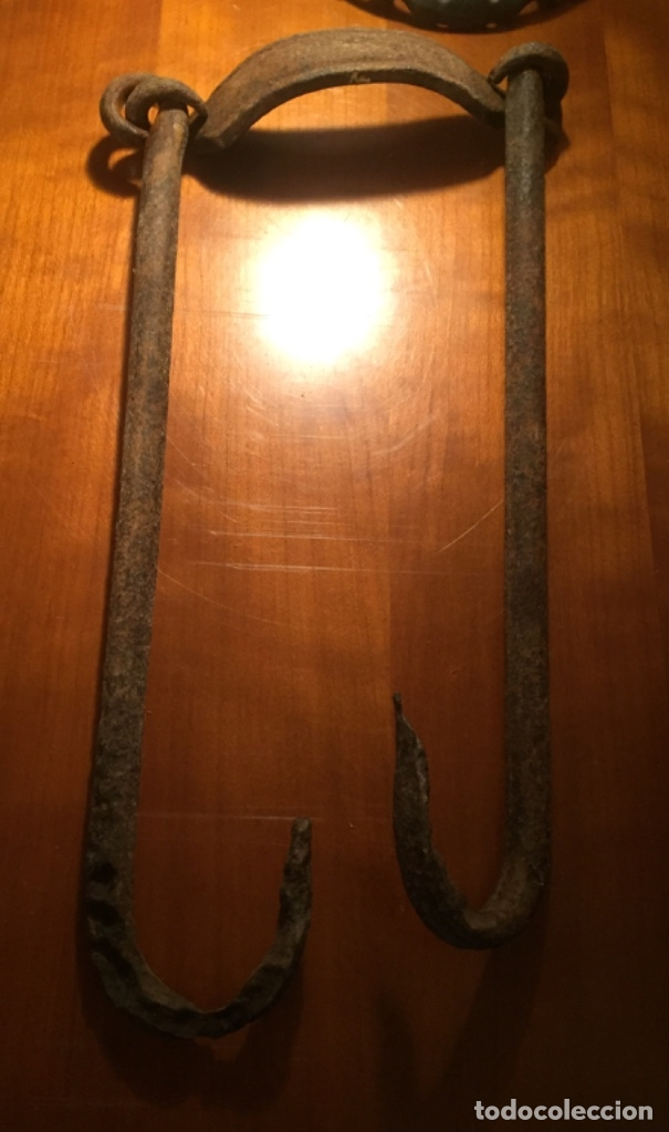Antigüedades: Hierro forja para colgar ollas siglo XIX y principios XX - Foto 11 - 173007663