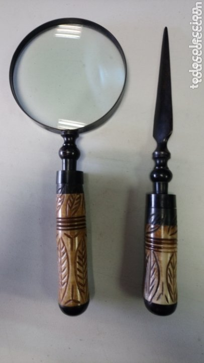 ELEGANTE JUEGO DE LUPA Y ABRECARTAS EN ALTA CALIDAD INSPIRADO EN MODELOS DE EXPLORADOR DEL SIGLO XIX (Antigüedades - Técnicas - Instrumentos Ópticos - Lupas Antiguas)